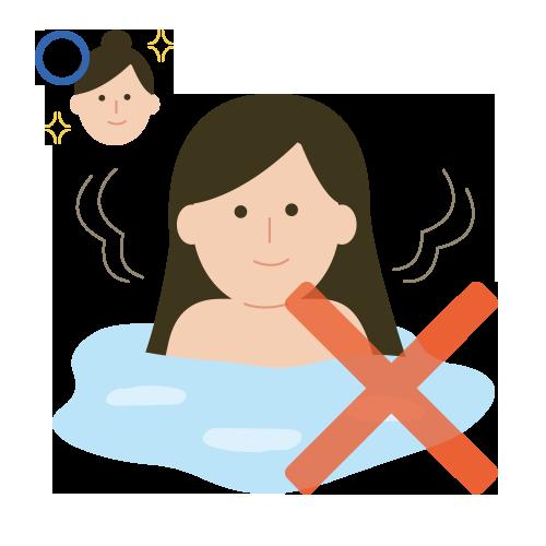 請先將長髮束起後再進入浴池。